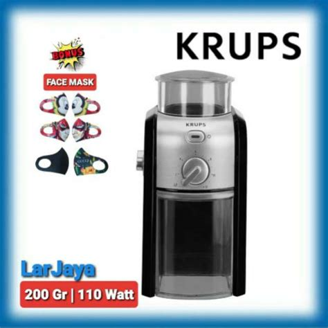 The dial and the side controls the grind of the coffee, from fine to coarse, with the highest number being the coarsest. PENGGILING KOPI KRUPS GVX231 / BURR GRINDER KRUPS GVX231   Shopee Indonesia