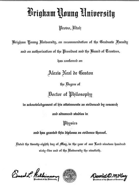 resume for physics brigham ph d with distinction physics may 1965