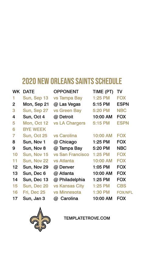 orleans saints lock screen schedule