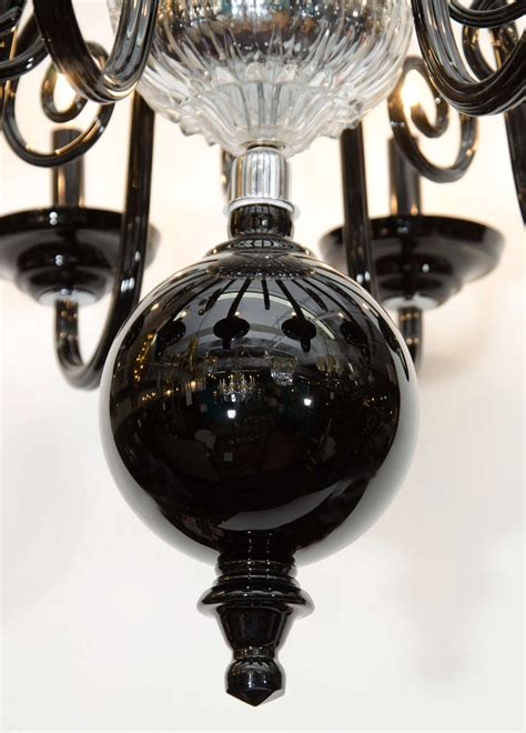 mid century black and clear murano glass chandelier at 1stdibs