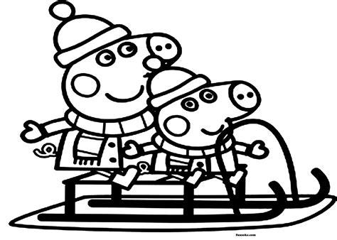 Colouring pages Peppa pig Christmas Funsoke