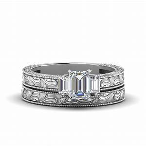 Emerald cut with baguette vintage wedding set in 18k white for Emerald cut diamond wedding ring sets