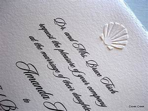 blind embossed sea shell invite clover creek nautical With embossed shell wedding invitations