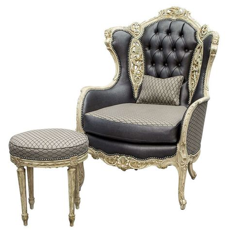 reclining wingback vintage carved fireside wing chair with