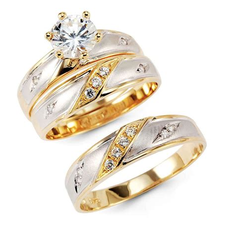 14k yellow two tone gold engagement promise bridal wedding bands trio 3 ring ebay