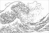 Coloring Wave Tsunami Hokusai Sheet Kanagawa Woodblock Japanese Famous Aesthetic Artist Kangawa Masterpieces Vague Coloriage Adult Ukiyo Grande Printable Adults sketch template