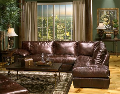 usa leather bronze sectional  mathis brothers