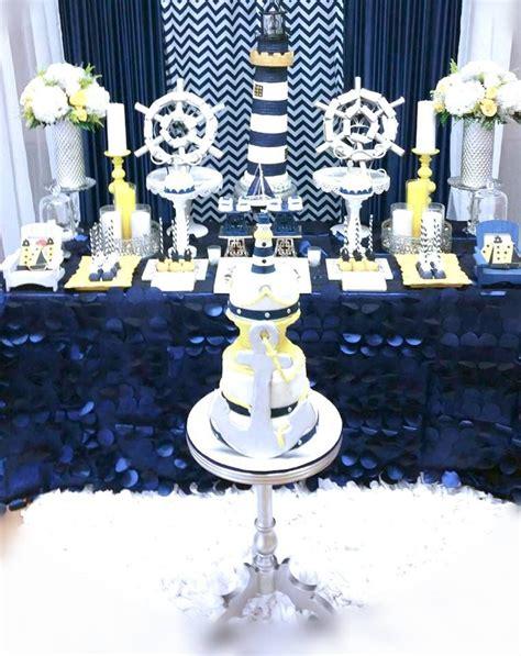 Nautical Baby Shower - blue and white nautical baby shower dessert displayboys