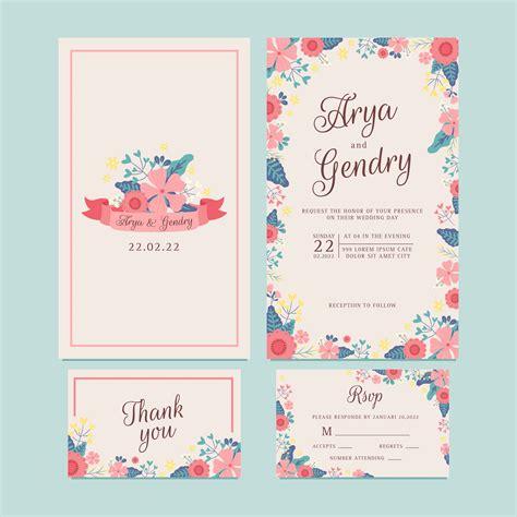 hand drawn spring flower wedding invitationflower ribbon