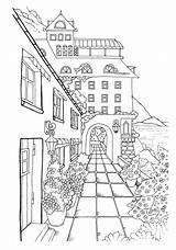 Coloring Town Nice Adult Adults Printable Pintar Colouring Sheets Stress Coloriage Dibujos Gift Colorear Perspective Books Paisajes Drawing Dessin Colorir sketch template