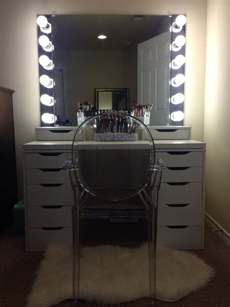 makeup desk with lighted mirror diy ikea vanity with lights beauty pinterest ikea