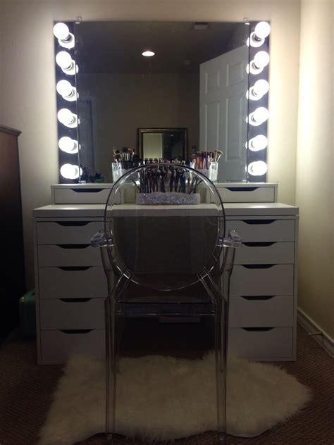 desk mirror with lights diy ikea vanity with lights beauty pinterest ikea