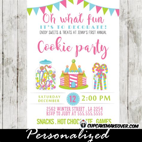 christmas cookie party invitations pink blue green sweets