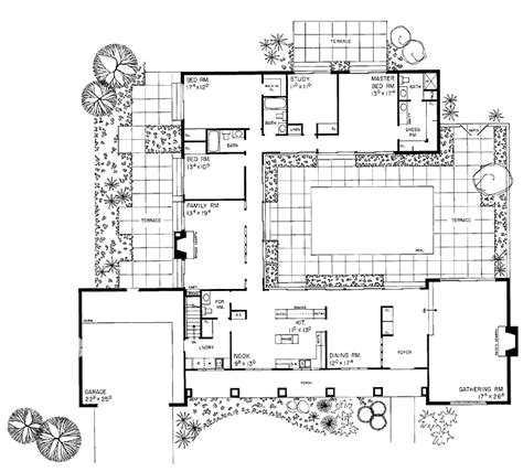 courtyard home floor plans courtyard plan house plans for the compound pinterest ranch homes house plans and squares