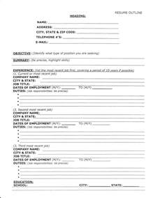 Resume Template Outline Format by Employment Fitness Zone Resume Outline And Sle