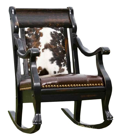 cowhide and leather rocker rusticartistry rocking - Cowhide Rocking Chair
