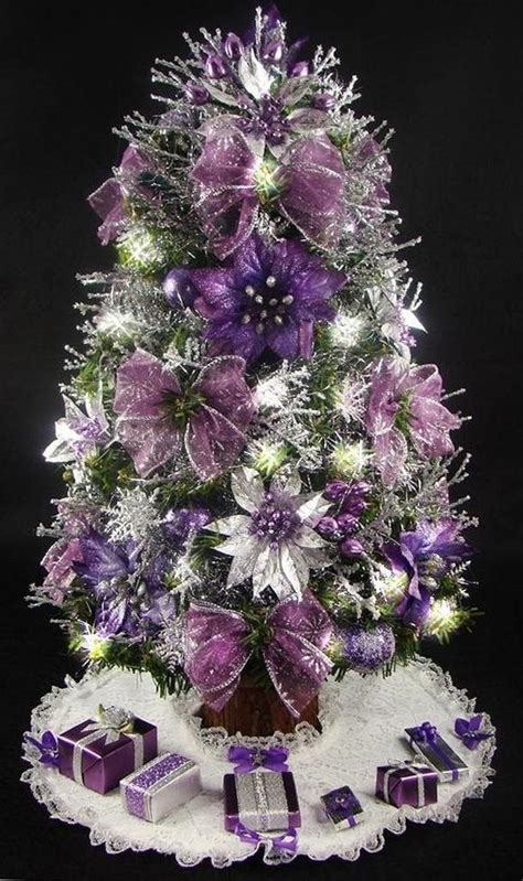 purple themed christmas tree mini tabletop tree purple and silver 17 inches