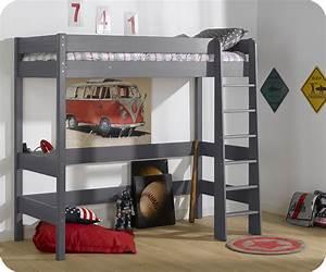 Lit mezzanine enfant clay gris achat mobilier bois massif for Luminaire chambre enfant avec matelas dunlopillo bz