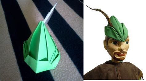 origami peter pan hat tutorial gorro de peter pan de