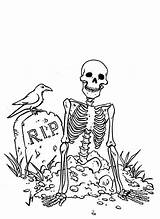 Coloring Skeleton Pirate Grave Arm Broken Came Colorear Kidsplaycolor sketch template