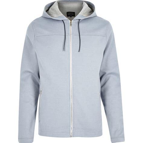 light blue hoodie river island light blue zip up hoodie in blue for lyst