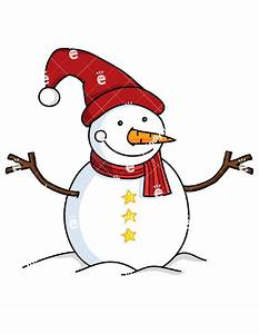 Cute Snowman With Long Red Christmas Hat Cartoon Vector ...