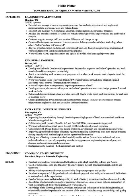 industrial engineering resume sles sarahepps