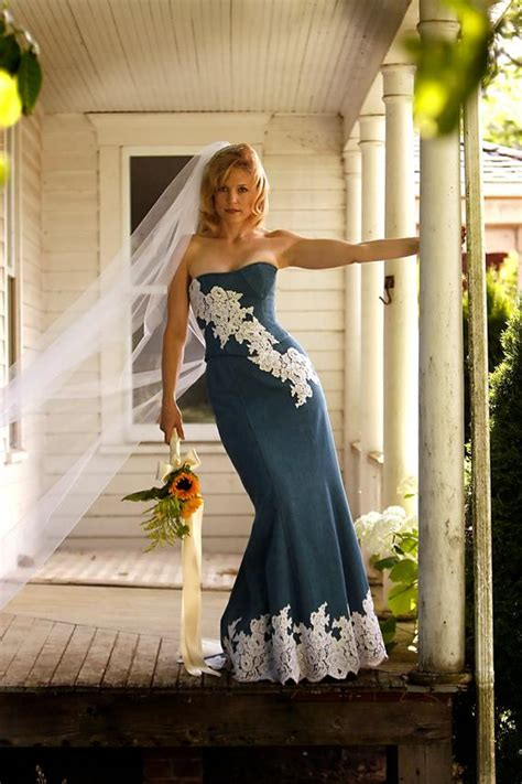 denim  lace rustic country wedding dress sample sale size