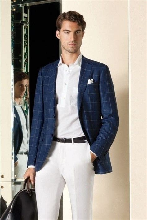 Menu0026#39;s Navy Plaid Blazer White Polo White Dress Pants White Pocket Square | White pocket ...