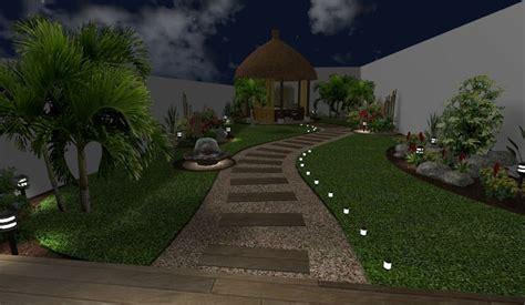modelo de sendero  iluninacion de noche decoracion de