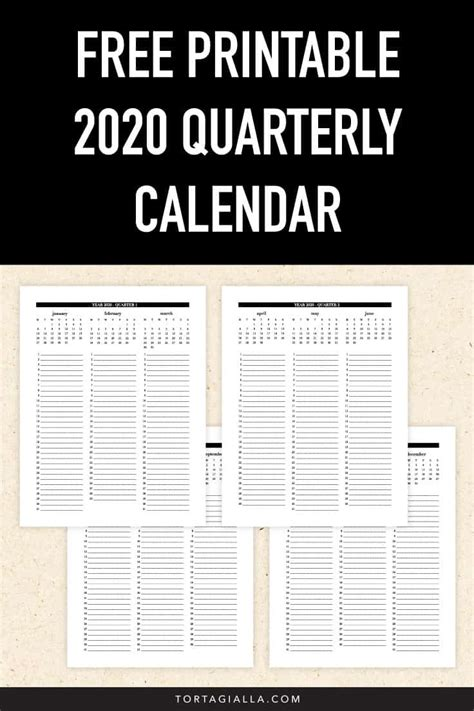 quarterly calendar printable tortagialla