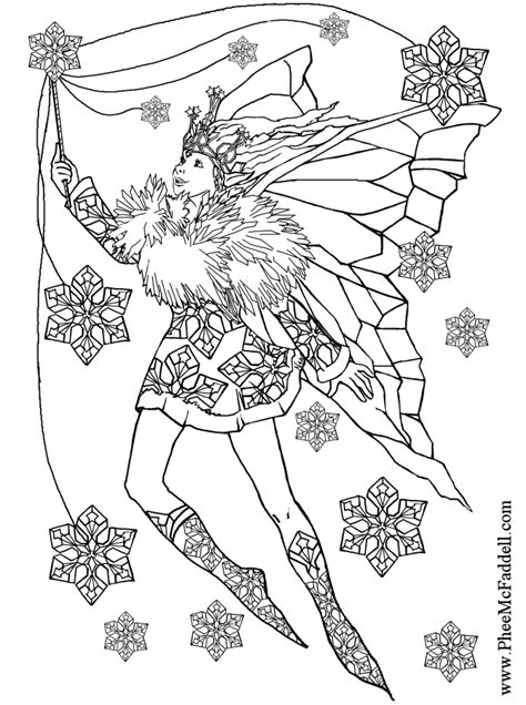 Fairy Coloring Pages | Snowflake Fairy to color Black and