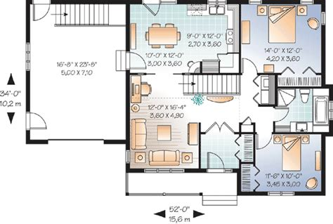 2 bedroom ranch house plans 2 bedroom ranch with vaulted spaces 21877dr 1st floor