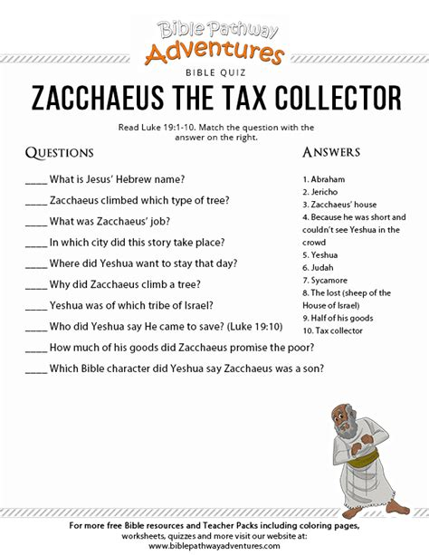 zacchaeus the tax collector worksheets zacchaeus the tax collector bible pathway adventures