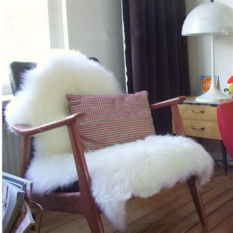 chaise fourrure sheepskin chair cover seat pad carpet plain