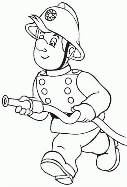Fireman Coloring Water Hose Running Pages Firefighters