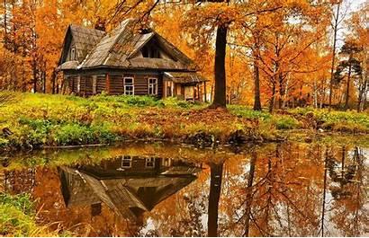 Autumn Cottage Landscape Forest Wallpapers Hut Cabin