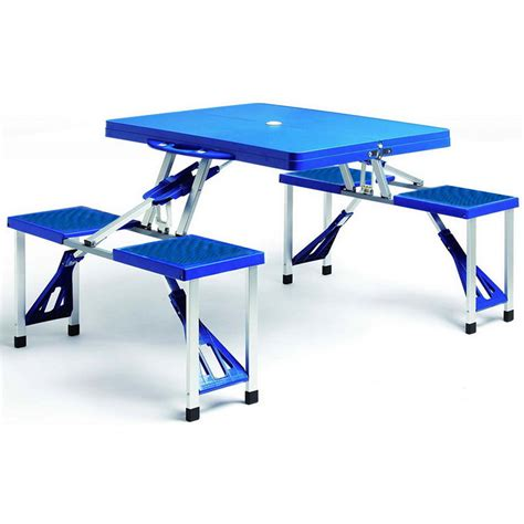 Camping Bench And Table by Portable Picnic Table And Bench Folding Blue Camping