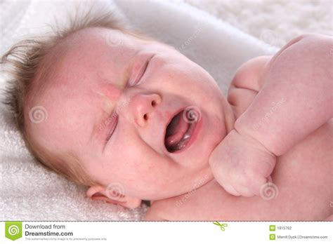Crying Baby Girl On White Towel Stock Photography Image