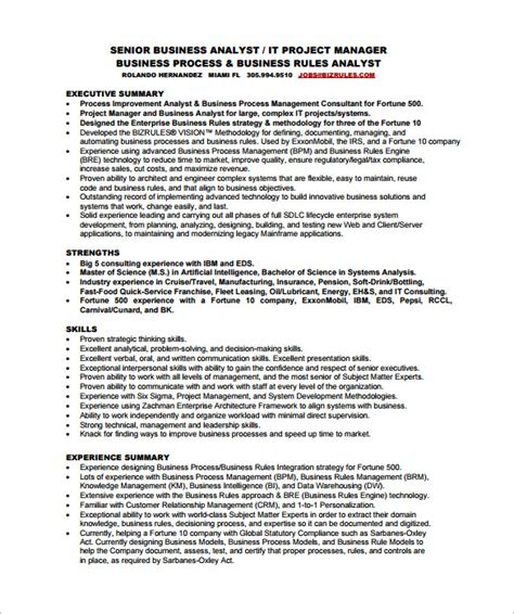 business analyst resume template   word excel