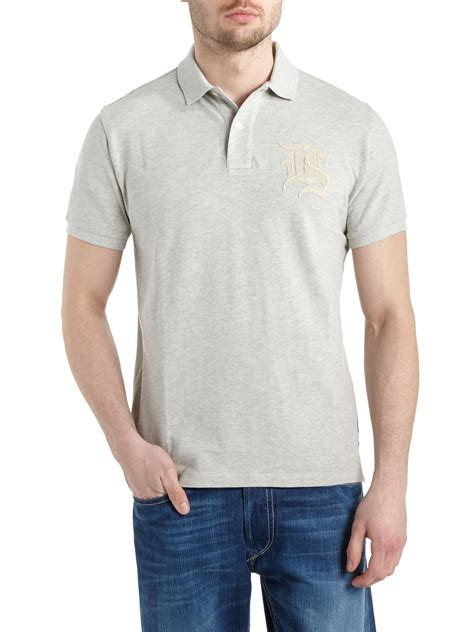 denim supply ralph sleeve ds logo polo shirt in gray for lyst