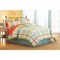 better homes and gardens comforter set collection posies and plaid walmart com