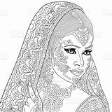 Coloring Indian Adult Drawn Vector Illustration Cartoon Stylized Zentangle Bride Adults Tattoo Hindu Colouring Henna Zen Mandala Royalty Para Flower sketch template