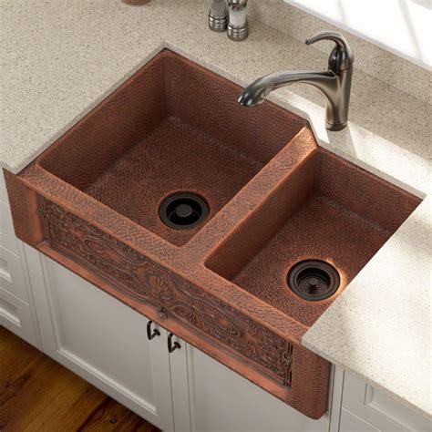 Copper Kitchen Sink Faucet by Mr Direct 911 Offset Bowl Copper Apron Sink Review