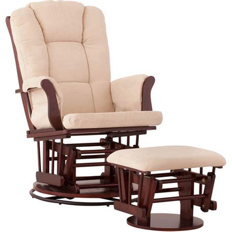 Glider Chair Cushions Walmart by Status Swivel Glider And Ottoman Cherry Finish