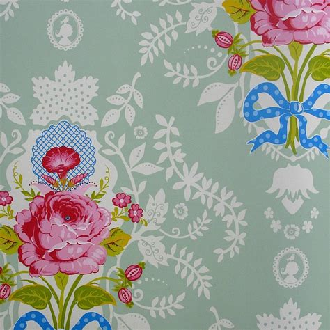 green shabby chic wallpaper all over floral wallpaper by fifty one percent notonthehighstreet com