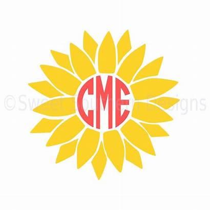 Monogram Sunflower Svg Silhouette Cricut Instant Stickers
