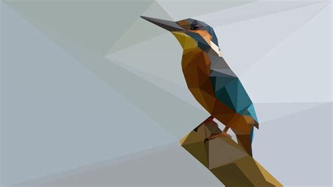 Polygon Animal Wallpaper - kingfisher low poly 4k ultra hd wallpaper background
