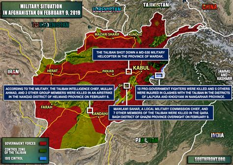 Military Situation In Afghanistan On February 9, 2019 (map