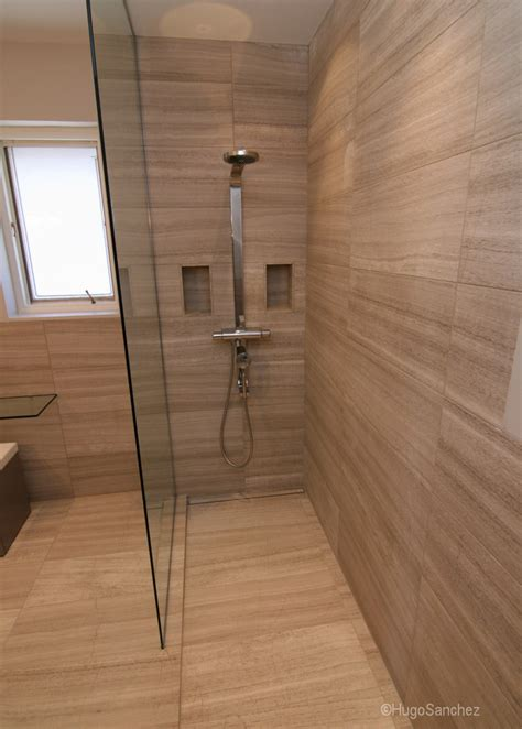 In The Shower - curbless limestone shower c 233 ramiques hugo inc